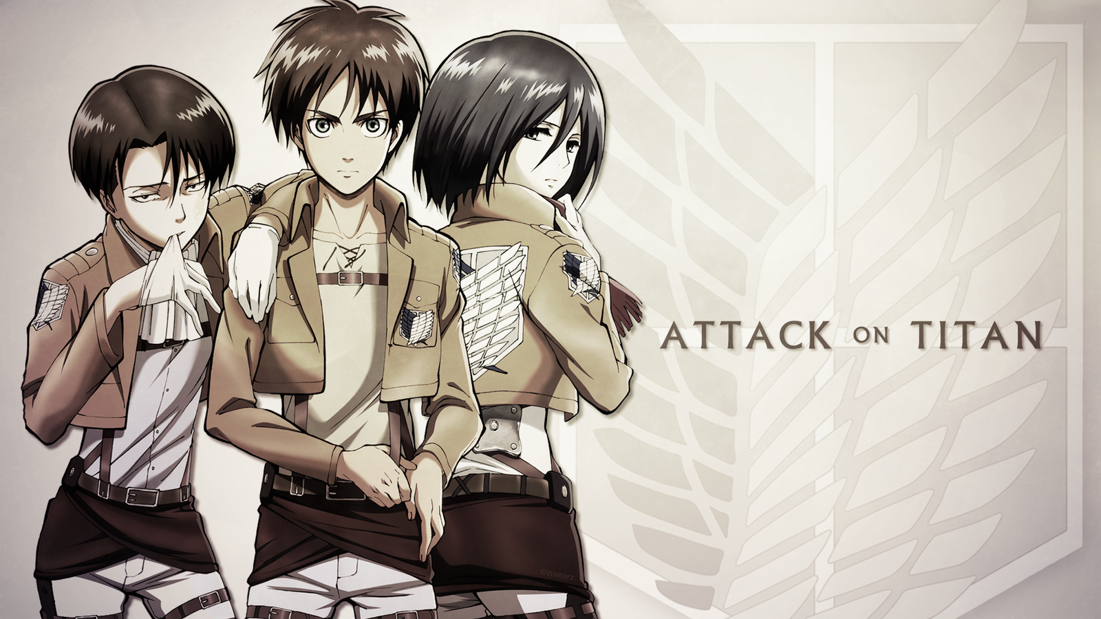 Attack on Titan - Eren/Levi/Mikasa by Welterz on DeviantArt