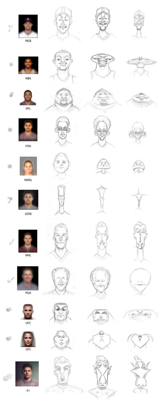 Caricatures of composite faces of various sports by SamSaxton