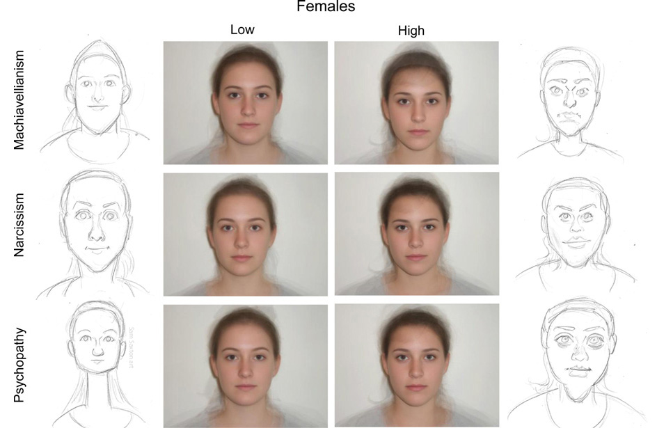 Caricatures of composite faces of dark triad women by SamSaxton