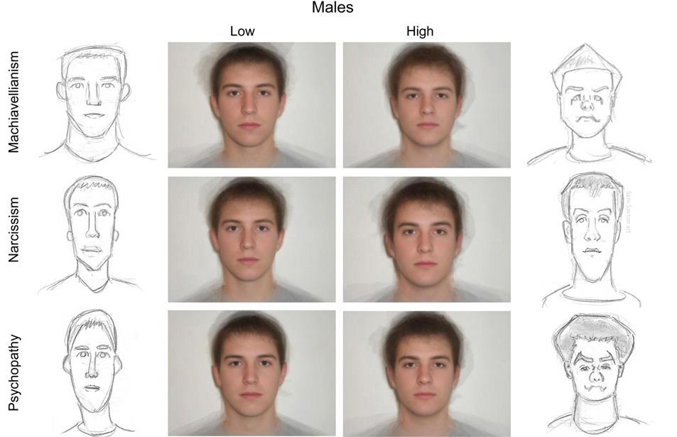 Caricatures of composite faces of dark triad men by SamSaxton