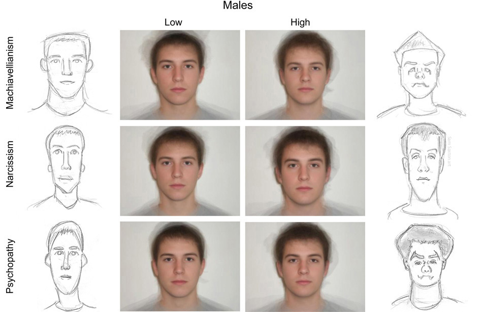 Caricatures of composite faces of dark triad men by SamSaxton