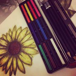 Sunflower Chalk Attempt by ZeeeClown