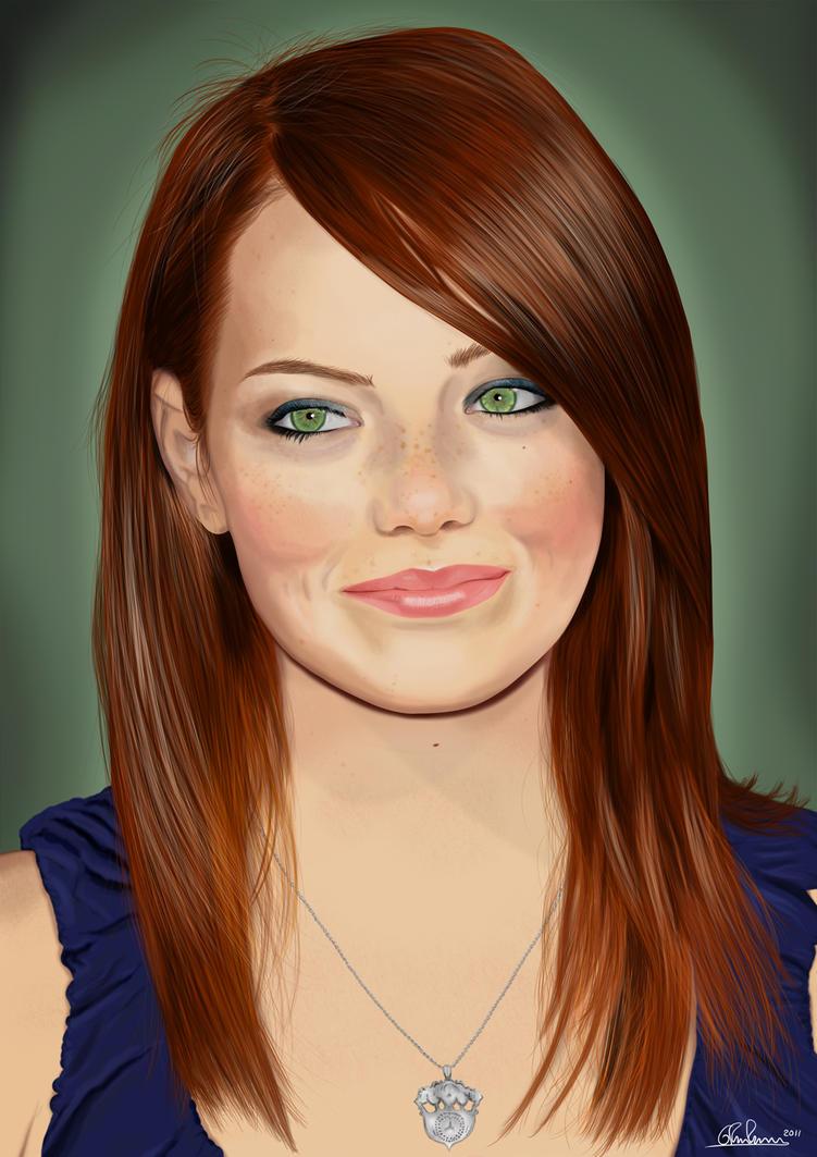 Emma Stone portrait by... Andrew Garfield