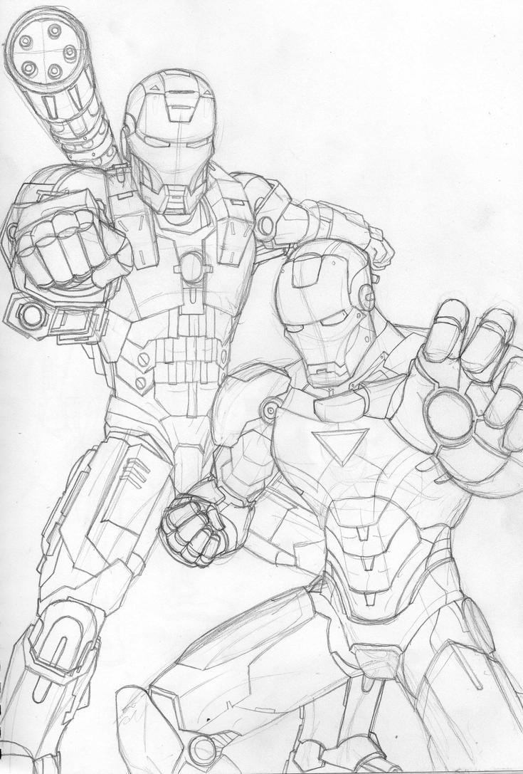 iron man war machine drawing