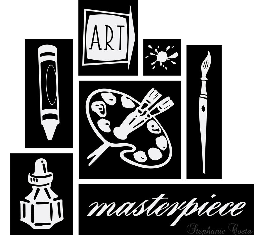 Asymmetrical art supplies in black and white by piggygirlrocks on deviantart - Design art black and white ...