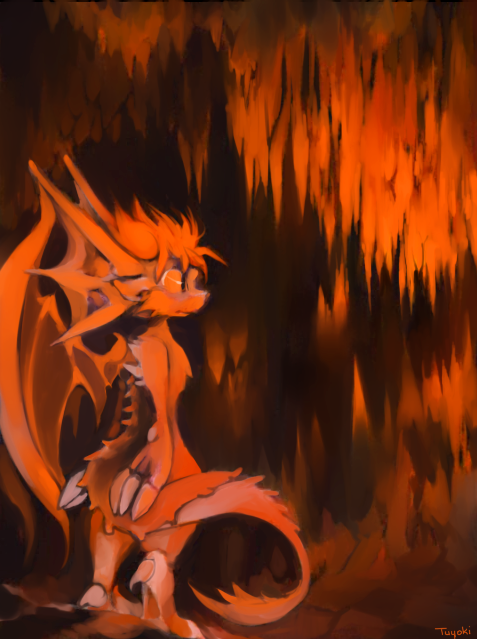 dragon in a cave by Tuyoki