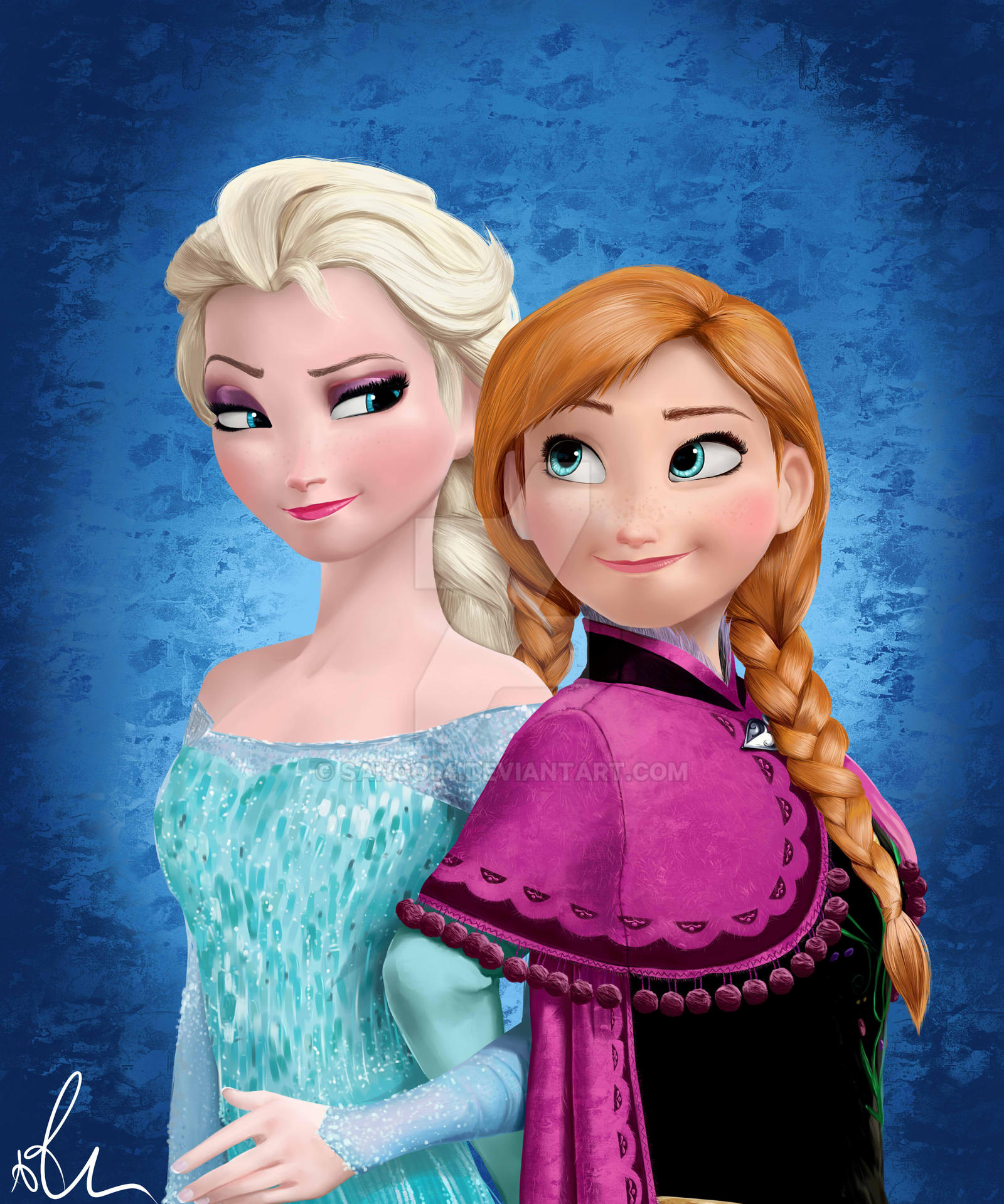 Elsa and anna frozen by sango94 on deviantart - Frozen cartoon wallpaper ...