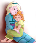 Elsa and Anna as kids