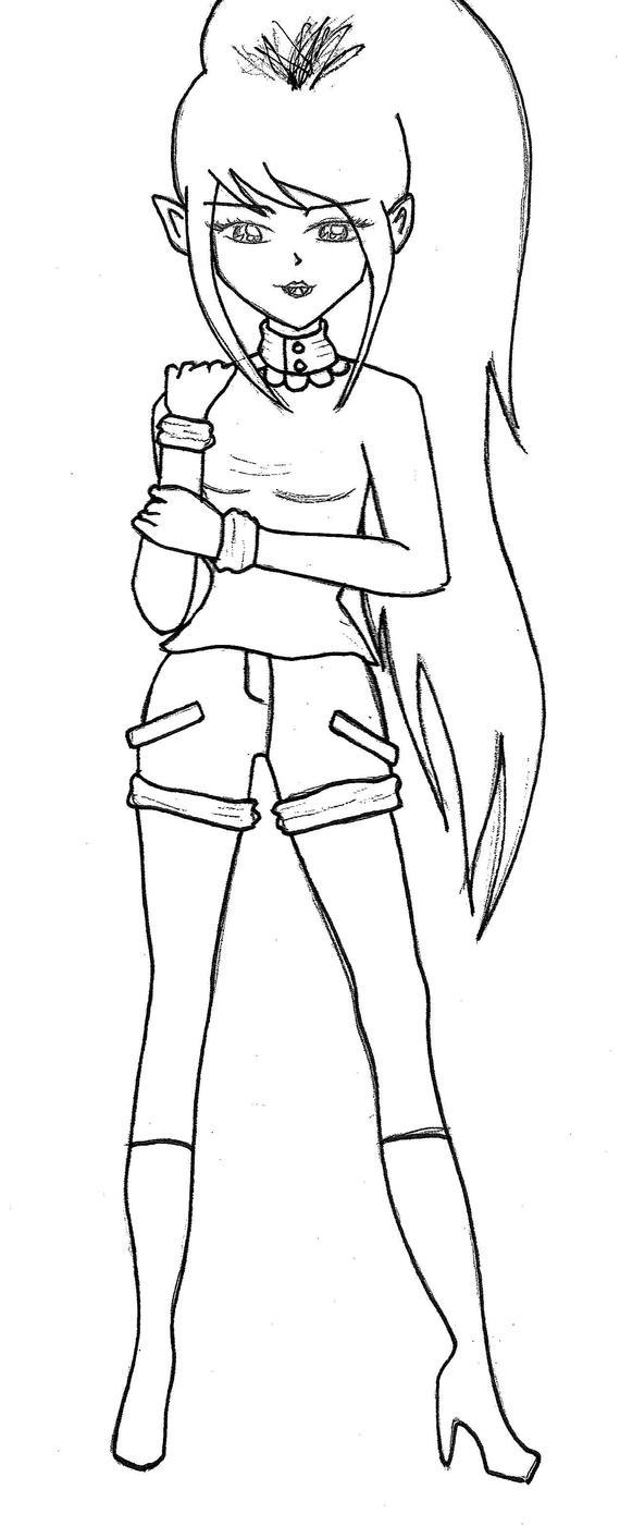 Line Art Queen : Marceline the vampire queen line art by xyukicrossx on