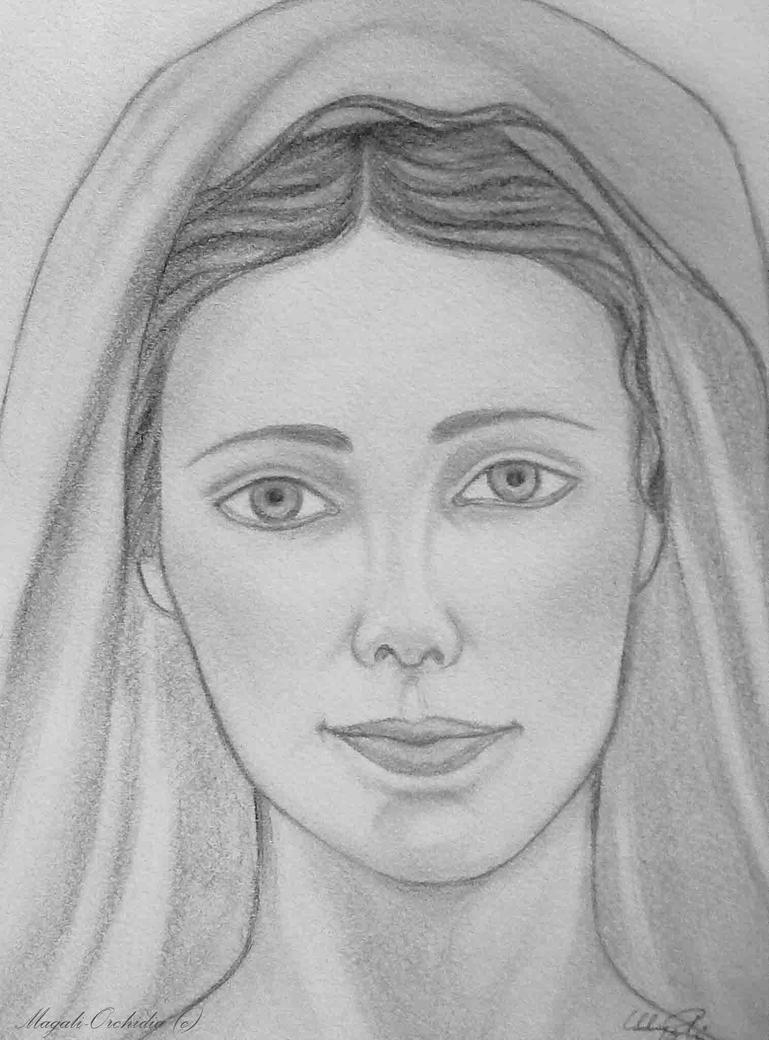 Line Drawing Virgin Mary : The virgin mary by blackorchidia on deviantart