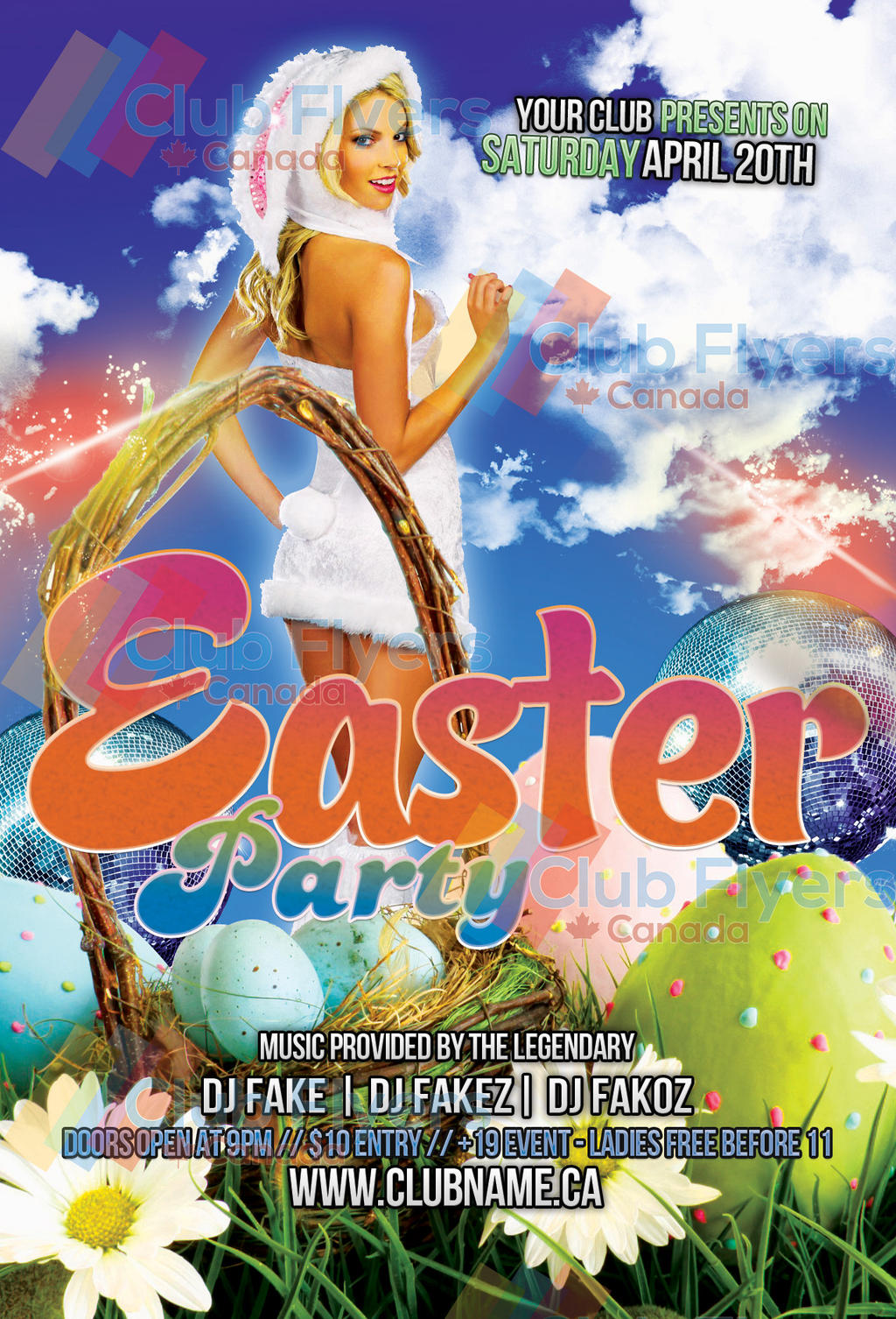 Free easter nightclub party flyer template by clubflyerscanada