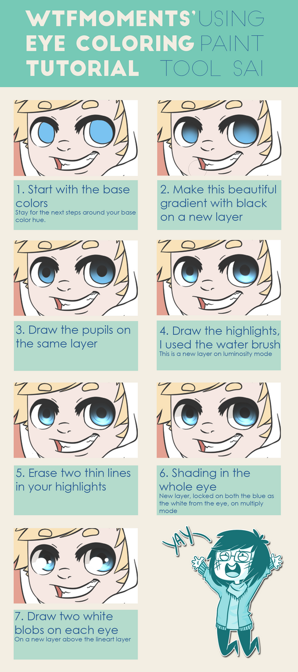[SAI] Eye coloring tutorial by WTFmoments