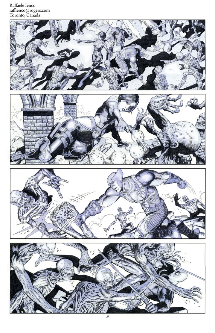 Wolverine Deadpool Domino pencils03 by Raffaele-Ienco