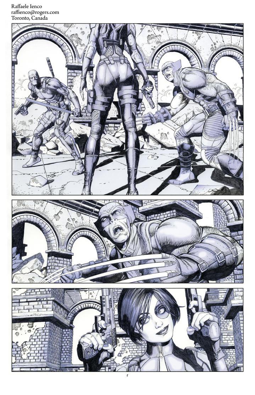 Wolverine Deadpool Domino pencils01 by Raffaele-Ienco