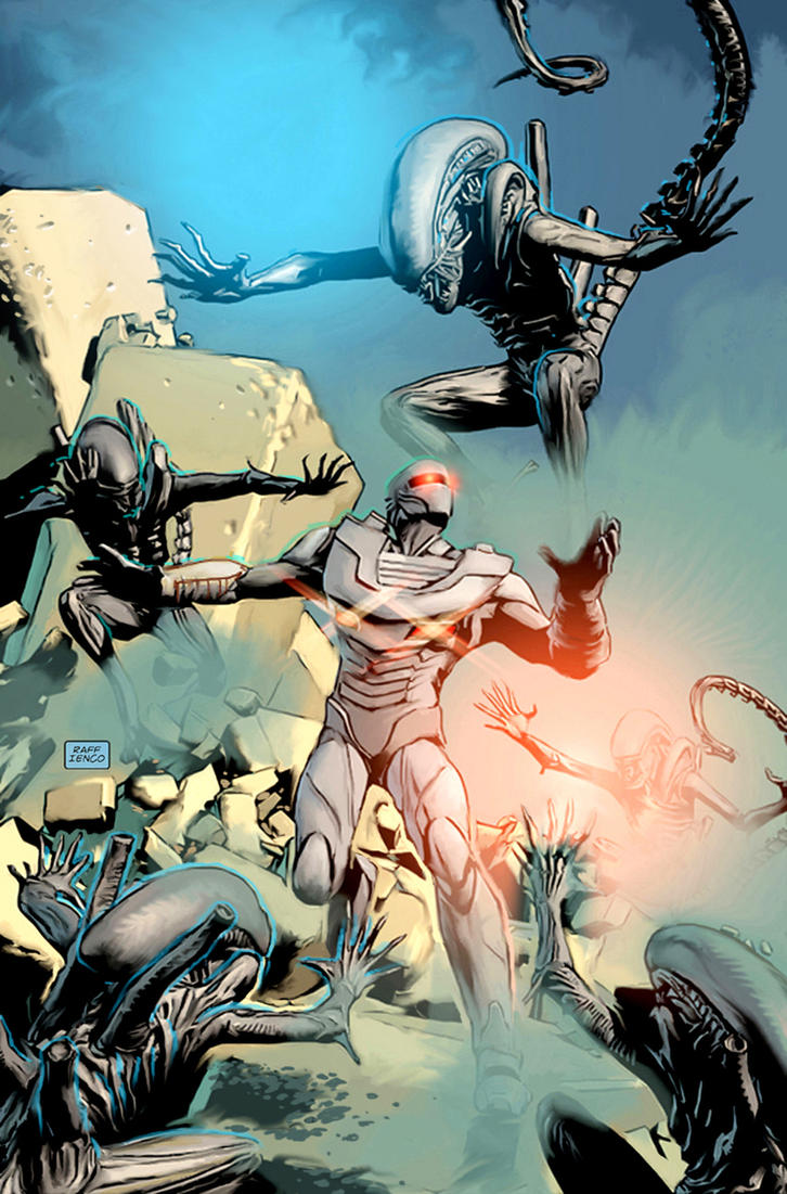 ROM SpaceKnight vs Aliens fan art by Raffaele-Ienco