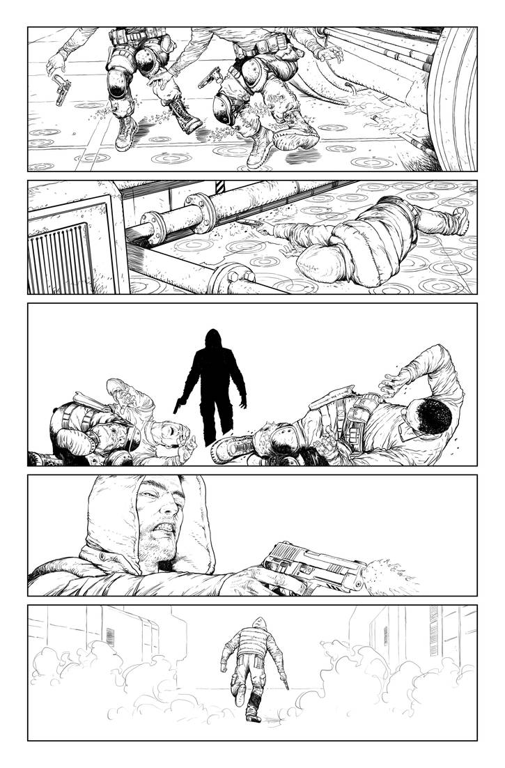 Postal S2 issue01 page03 linework by Raffaele-Ienco