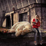 She Reads Books To The Bear