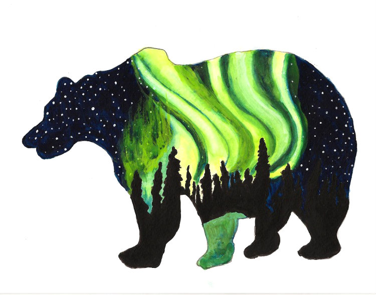 Bear Aurora Silhouette by Yve4882