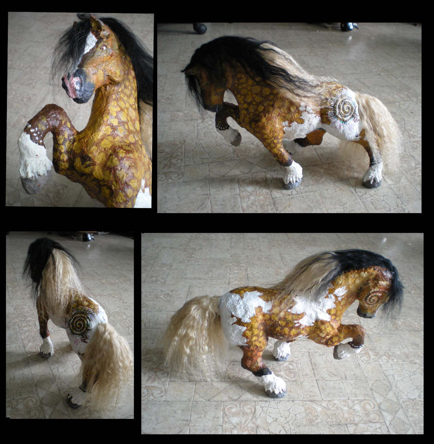 gypsy vanner papier mache clay sclupt by shadowind on