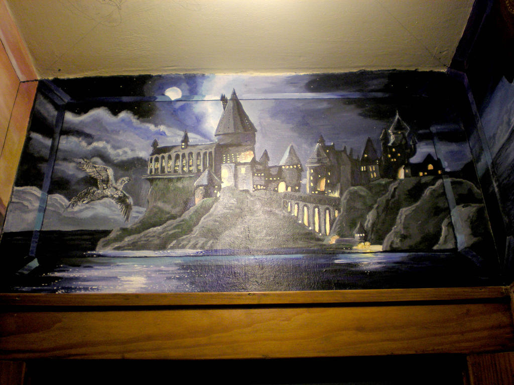 Wip hogwarts castle mural wall by shadowind on deviantart for Castle mural wallpaper