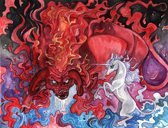 Last Unicorn Red Bull Fan Art 'Fighting Back'