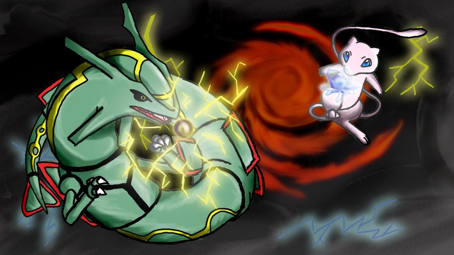 Rayquaza VS Mew by Rindiny