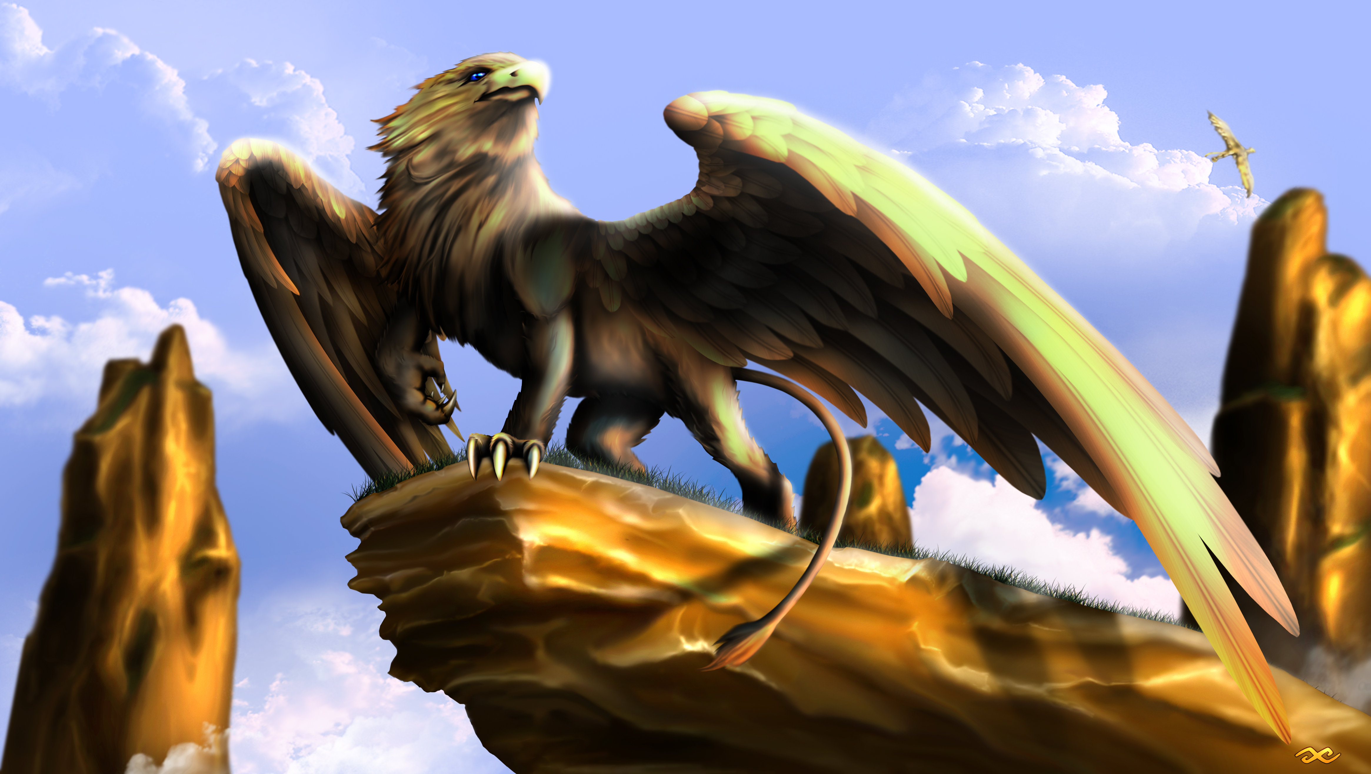 Eagle Vs Dragon Drawing Griffin by guillaume-p...