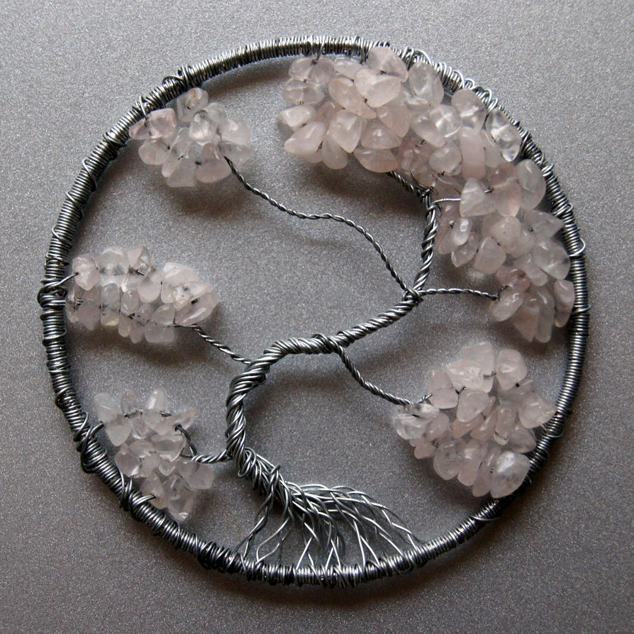 Rose Quartz and Silver Tree of Life pendant by craftymama on DeviantArt