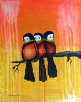 PERCHED SUNSET COTINGA TRIO by dirkstrangely