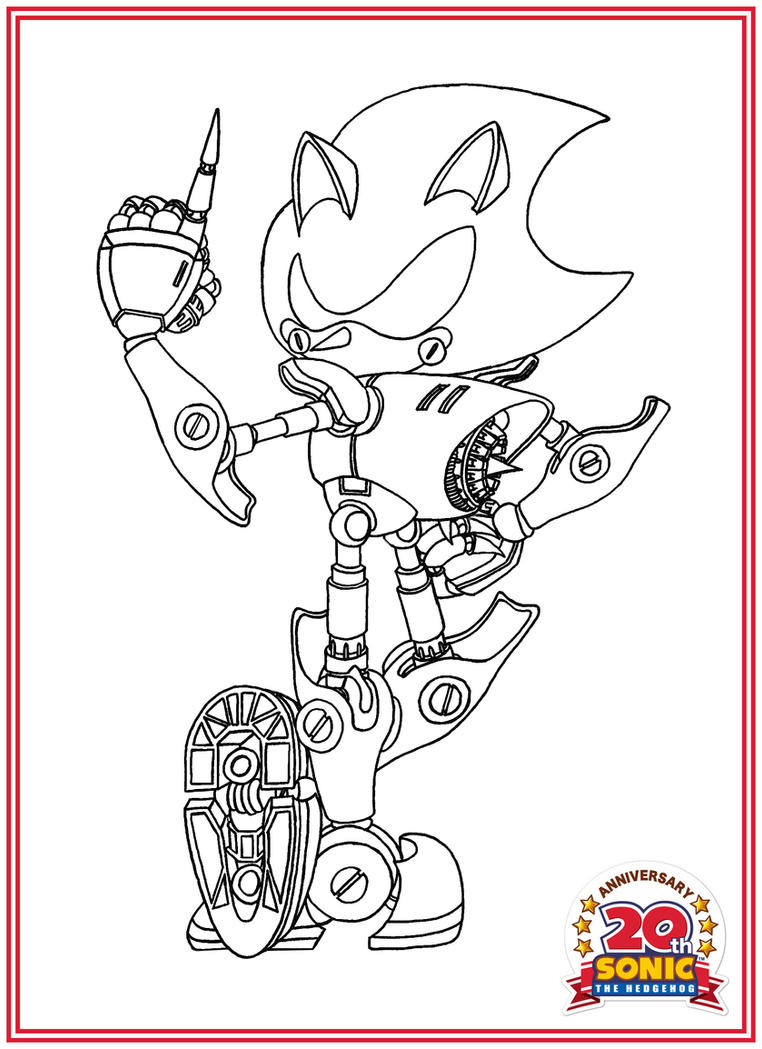 Anniversary Series Lineart - Metal Sonic by BroDogz