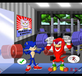 Comm: Sonic and Knuckles - Leg Day by BroDogz