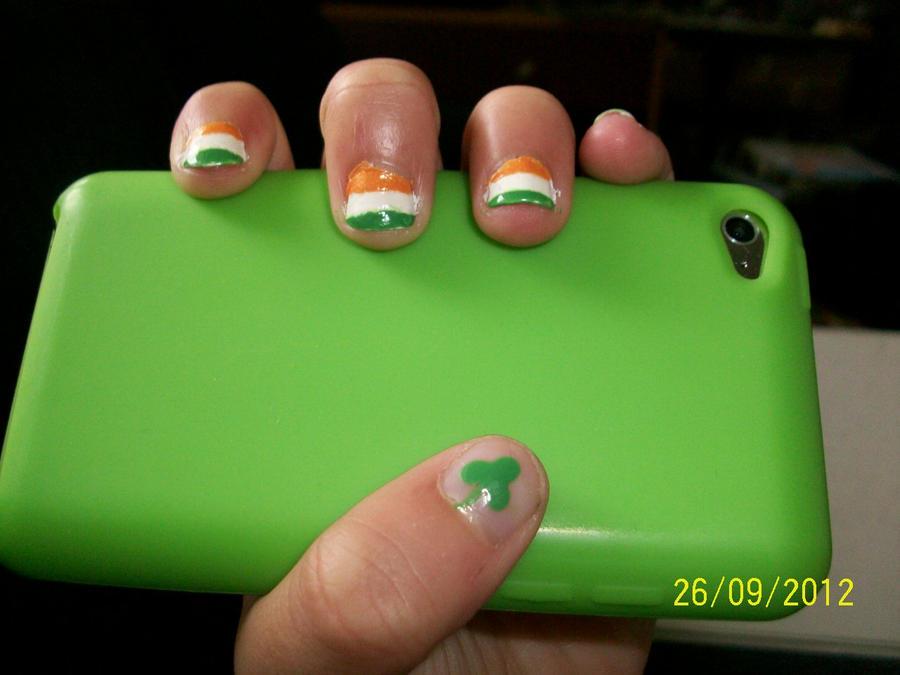 Irish Flag Nail Art by LunaTheFerret on DeviantArt