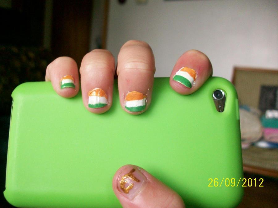 Irish Flag Nail Art (Right hand) by LunaTheFerret on DeviantArt