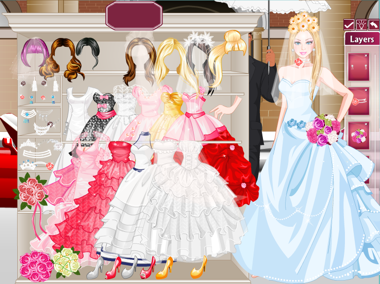 Barbie wedding dress up shop games bridesmaid dresses for Dress up games wedding