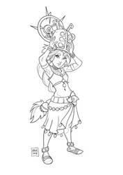 Zelda - BOTW: Riju (lineart) by KROKDK