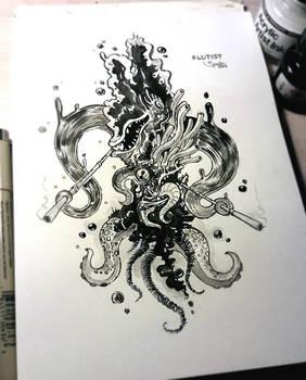 INKTOBER #12 - Flutist of Azathoth