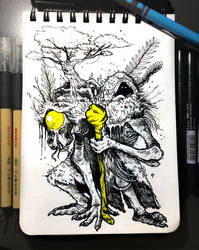 INKTOBER'19 | #14 - Overgrown | Xenodruid