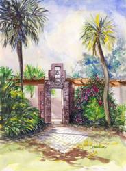 Art Center Gate Watercolor Art