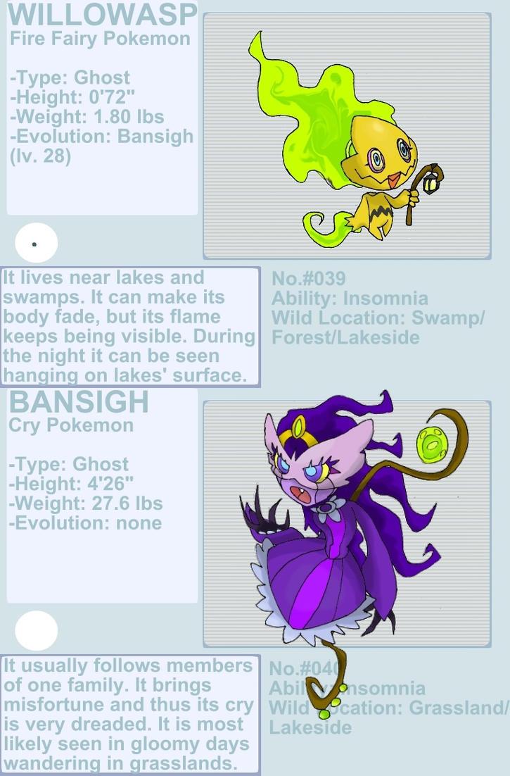 Willowasp and Bansigh fakemon by byona