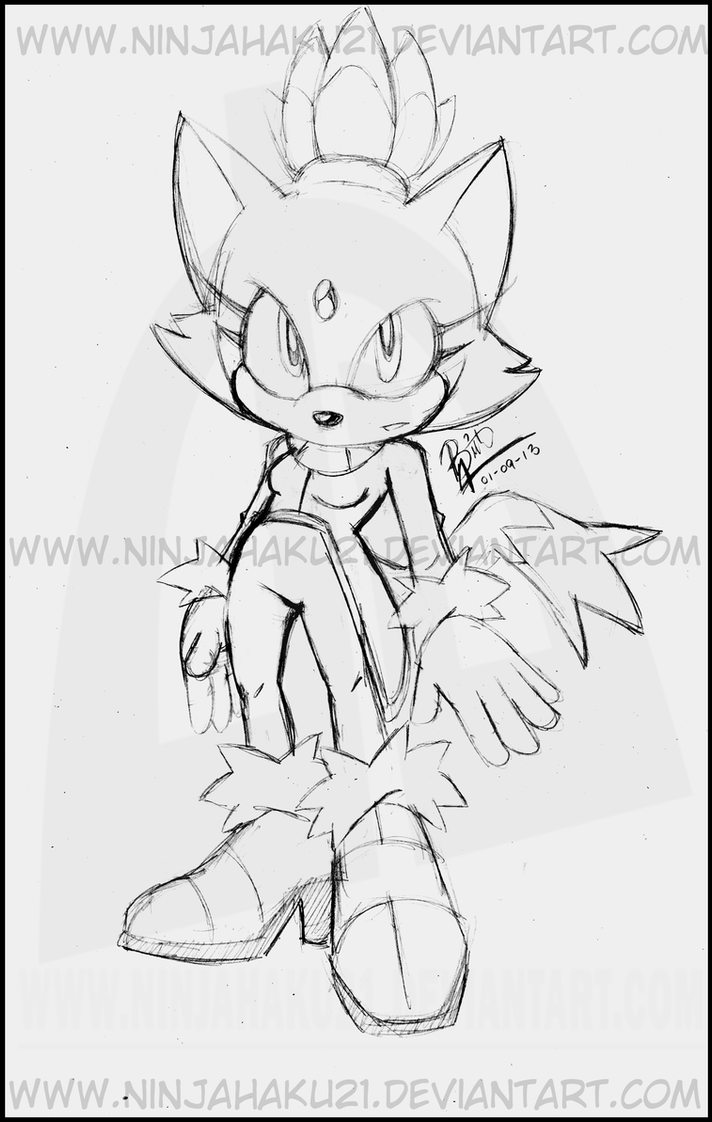 Blaze the cat by ninjahaku21 on deviantart for Blaze the cat coloring pages