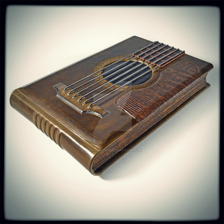 The Guitar - leather journal with staff lines by alexlibris999