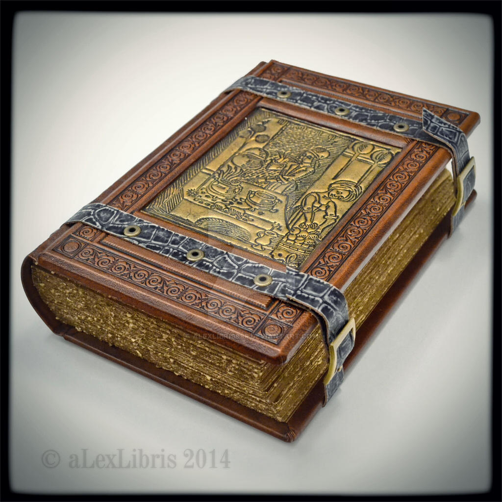 Large Leather Journal With Old Cookery Detail By