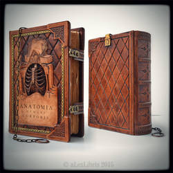Large leather journal in Anatomy thematic... by alexlibris999
