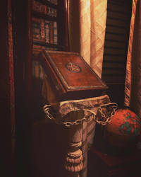 Grimoire on the book stand by alexlibris999
