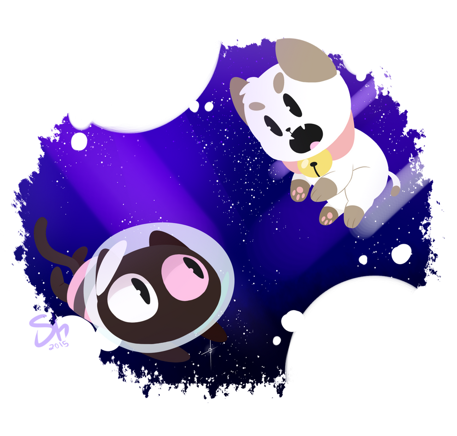 space and smol chubby cartoon cats, my ultimate aesthetic Art (c) Me puppycat (c) Cartoon Hangover cookie cat (c) cartoon network