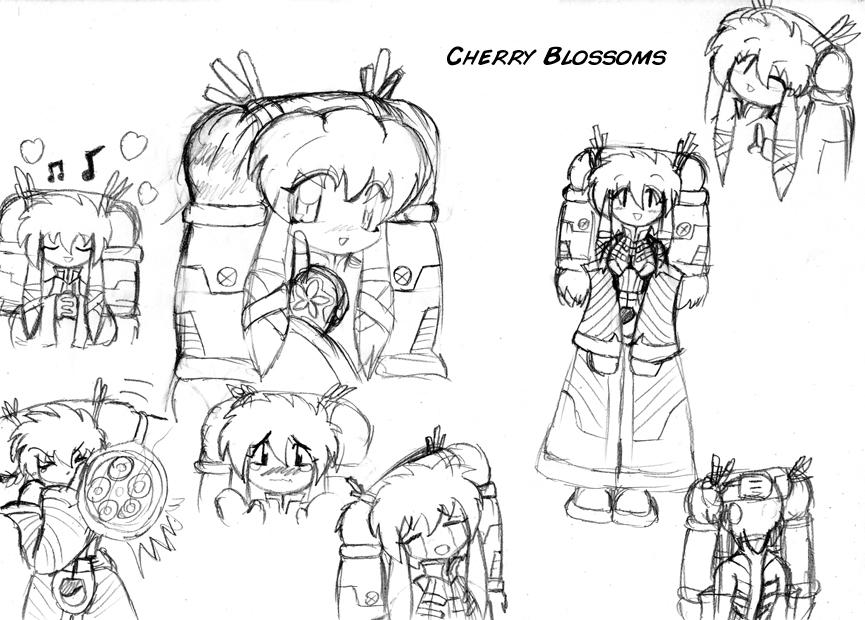 Cherry Blossom Sketch Black And White Sketch Cherry Blossoms by