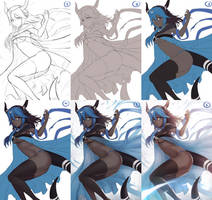 [COMMISSION] for LayDeDeadpool (STEP BY STEP) by Hananon