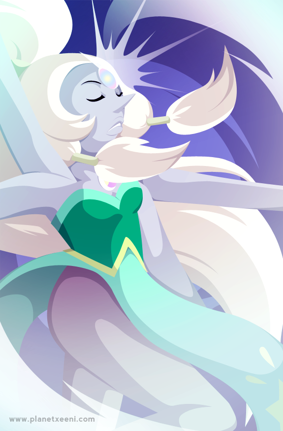 is it obvious that it's poster-drawing time again? Opal, Steven Universe. Tumblr link: selanpike.tumblr.com/post/7960…