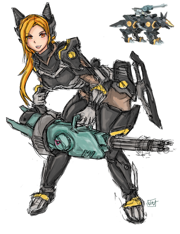 Shadow Fox Mecha Musume by bulletproofturtleman on DeviantArt