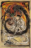 Samurai Jack vs Aku by bulletproofturtleman